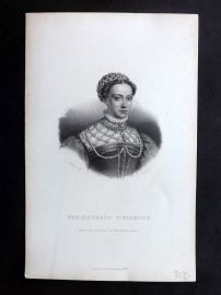 Bentley 1849 Antique Portrait Print. The Duchess d'Etampes